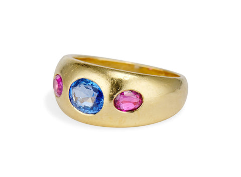 Vintage 1980s Bulgari Sapphire and Gold Ring