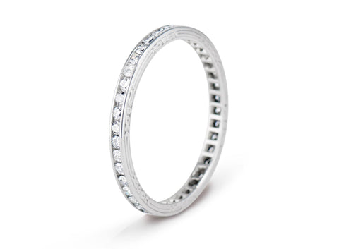 Art Deco .55 Carat Single Cut Diamond and Platinum Wedding Band