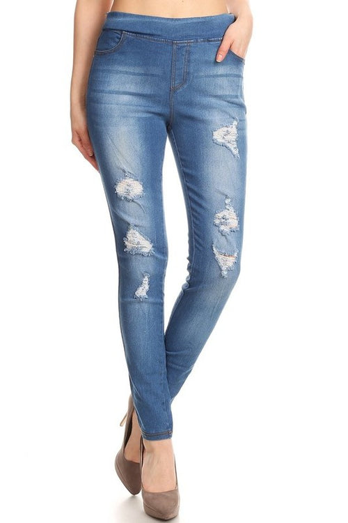 Sky Blue Ripped Denim Jeans