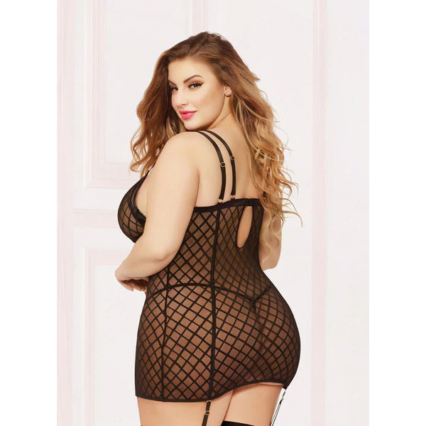 Fence Mesh Chemise and Thong