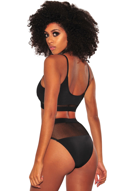 Black Fishnet High Waist Bikini