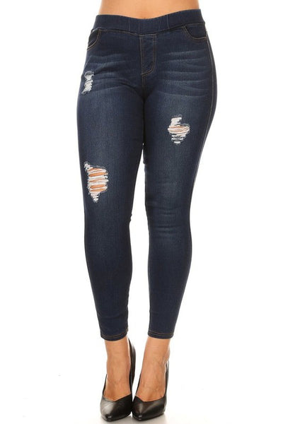 Basic denim ripped jeans