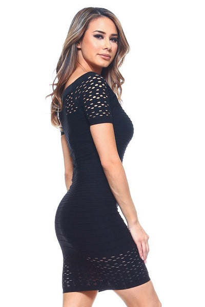 Seamless Textured Dress Black