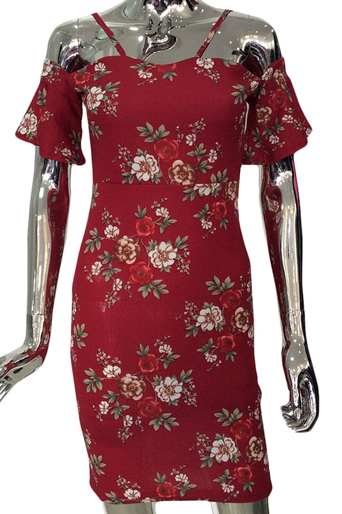 Red rose off shoulder dress