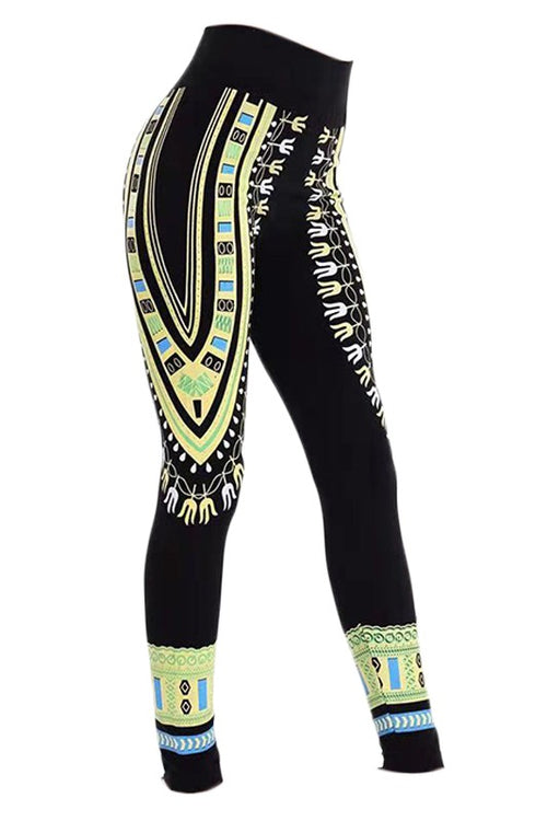 Dashiki Print Leggings Yellow