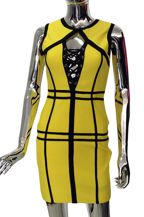 Geometric yellow bandage dress