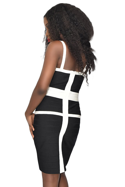 Black White Cross Bandage Dress