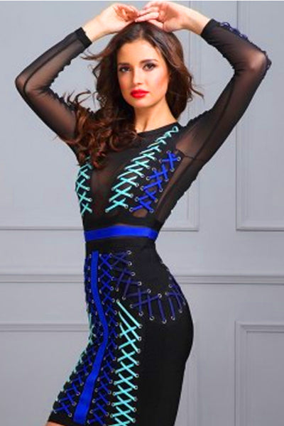 Blue Round Neck Criss Cross Lacing Bandage Dress