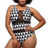 Sheer Print One Piece Swimsuit