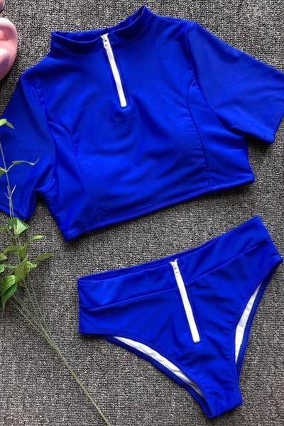 Two Piece Short Sleeves  Swimsuit Blue