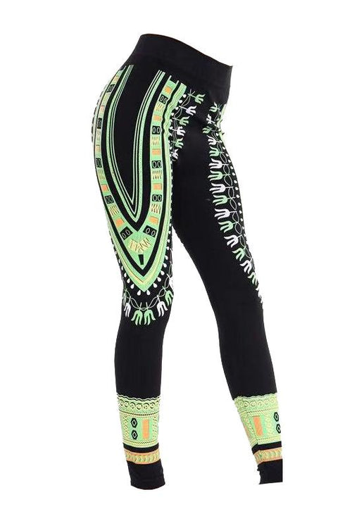 Dashiki Print Leggings Green
