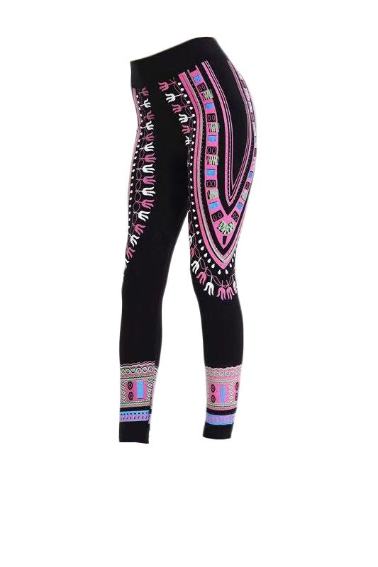 Dashiki Print Leggings Pink