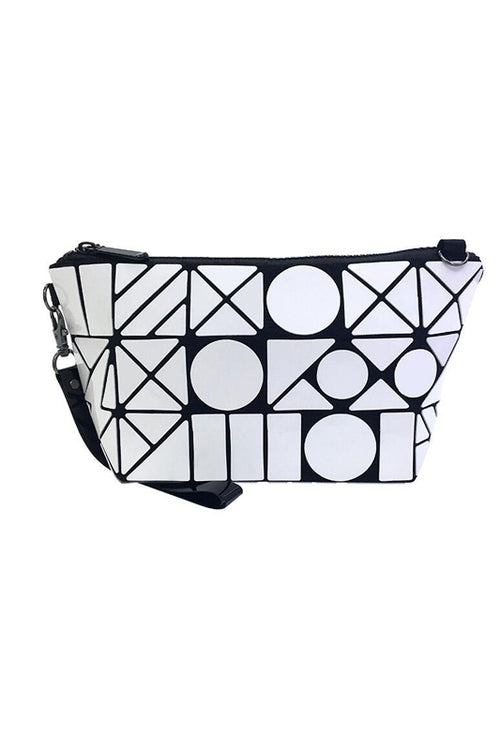 White Geometric Makeup pouch