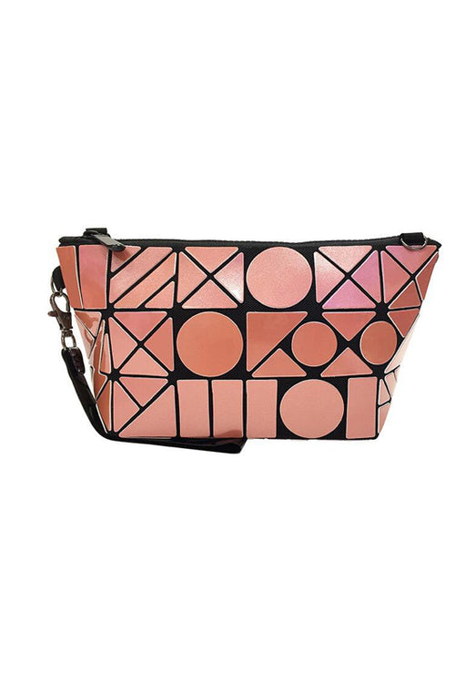 Orange Geometric Makeup pouch