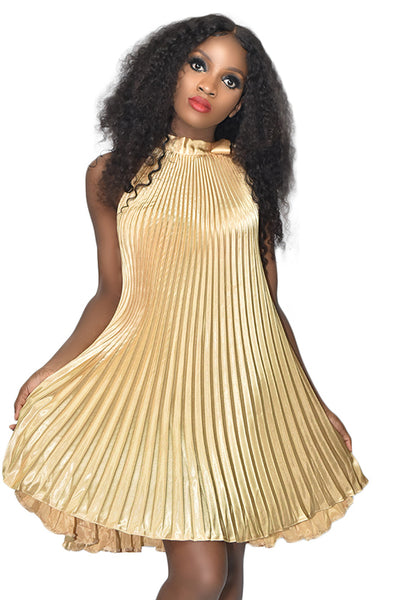 Gold Pleated A Line Dress