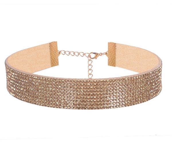 Rhinestone choker Necklace Gold