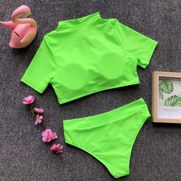 Two Piece Short Sleeves  Swimsuit Neon Green