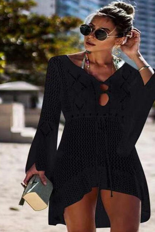 Black Long sleeve Crochet Swimsuit Cover Up
