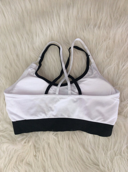 White and Black Band Tube Sports Bra
