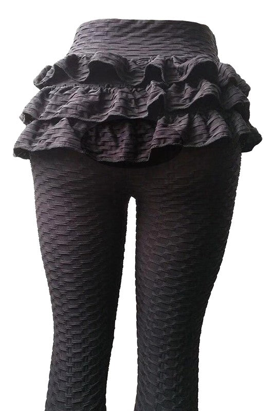 Ruffle back leggings Black
