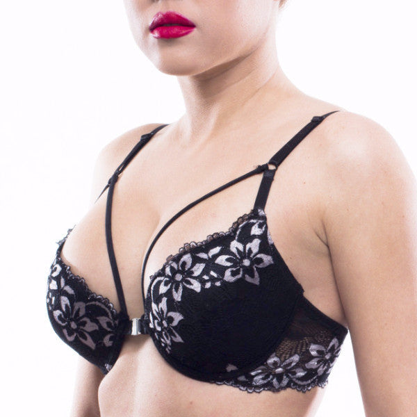 Black Flower Bomb Bra