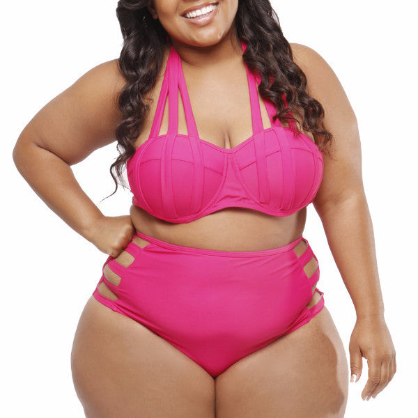 Splice Pink High Waist Bikini