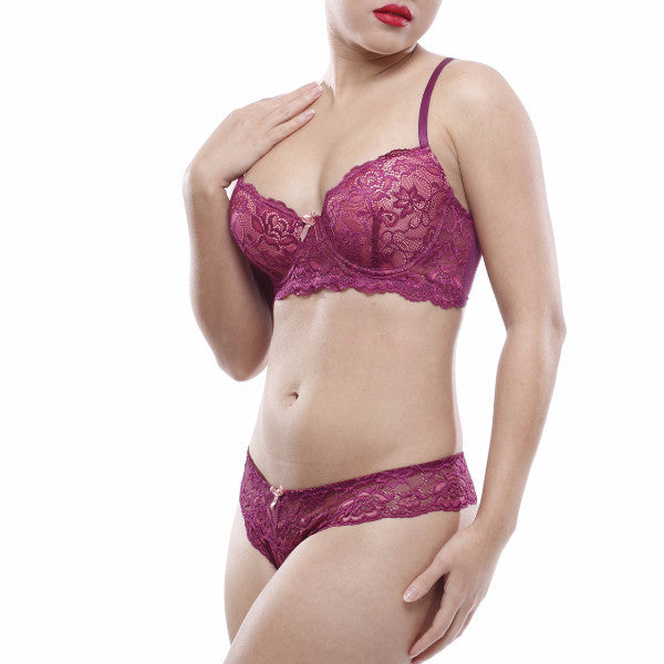 Rose Berry Bra Set