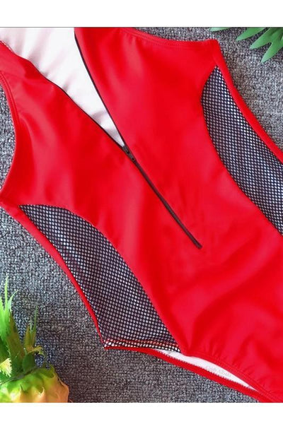Mesh front Zip one piece suit Red
