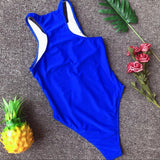 Mesh front Zip one piece suit Blue