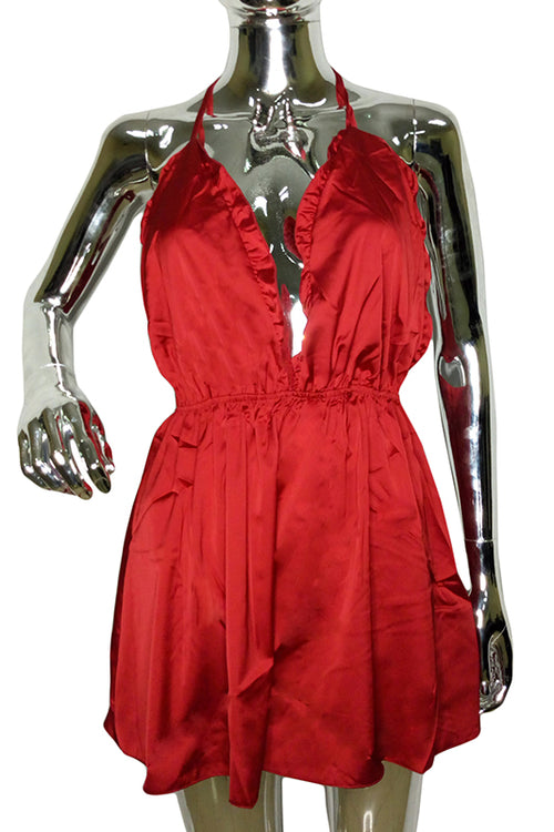 Red Satin Nighty Romper