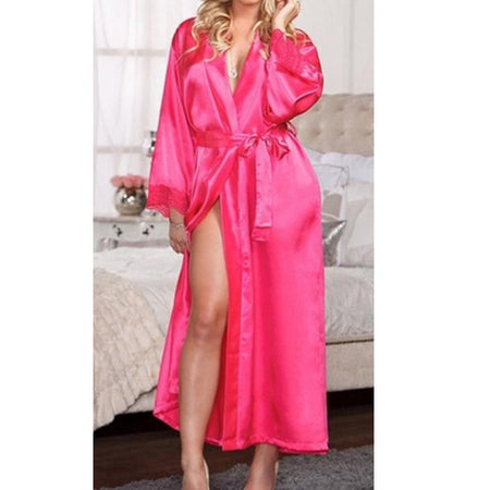 Two Pieces Lace Pajamas Sets Hot Pink