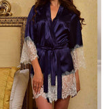 Supersoft Bamboo Lace Trim Robe Blue