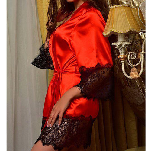Supersoft Bamboo Lace Trim Robe Red
