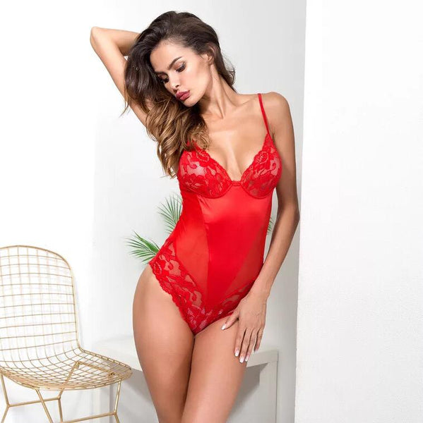 Red Satin Teddy