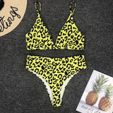 Yellow Leopard Print Two Piece Bikini Set