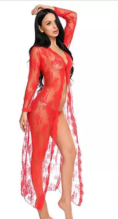 Allover Red Lace Robe