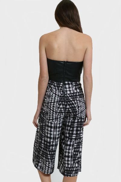 Leather and Print Jumpsuit