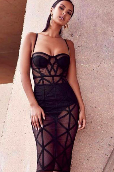 Black Strapy Mesh Bandage Dress