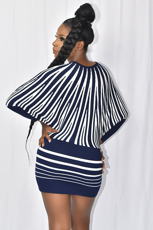 STRIPED SWEATER DRESS NAVY