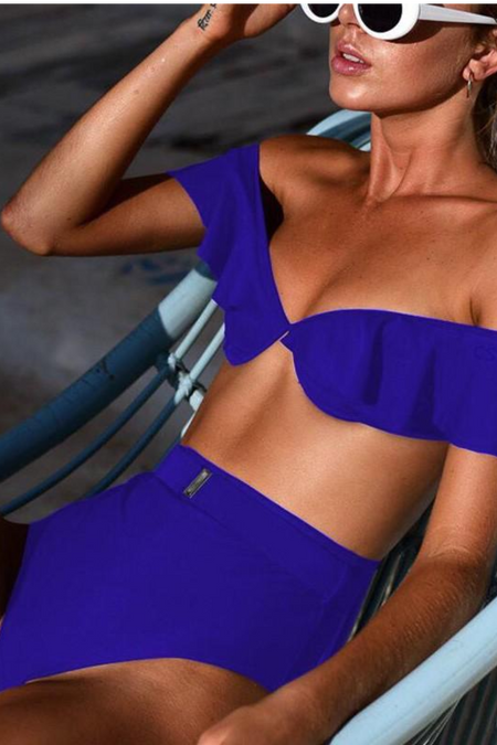 Sleeveless Lowback One Piece Swimsuit Blue
