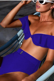High Waist Off Shoulder Bikini Set Blue