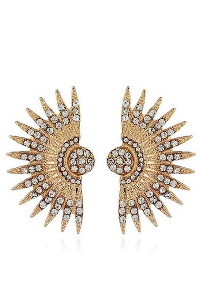 Fan Shaped Gold Earrings