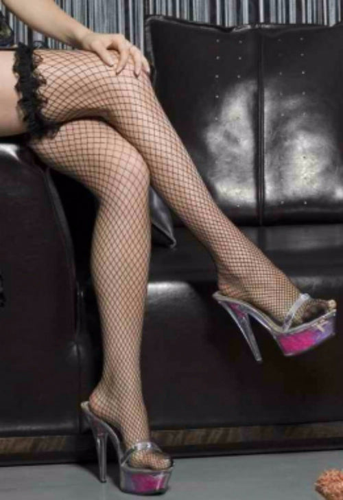 Ruffled Fishnet Stockings