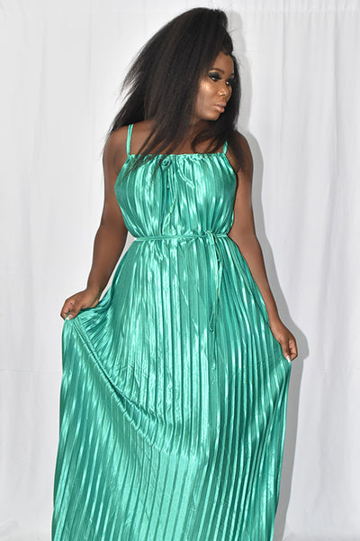Green Pleated Long Dress