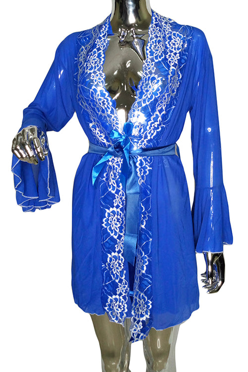Blue spice lace robe