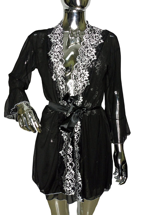 Black spice lace robe