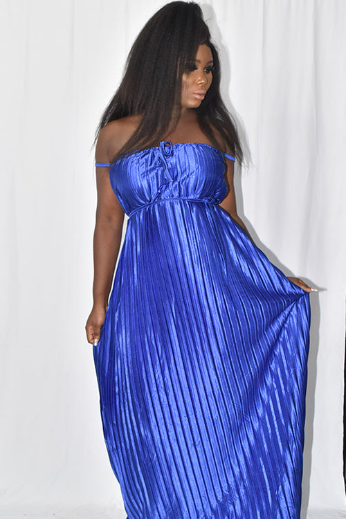 Blue Pleated Long Dress