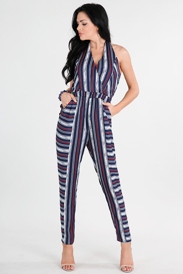 Mixed Stripe Halter Neck Jumpsuit