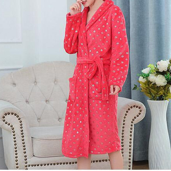 Red Polka Plush Bath Robe