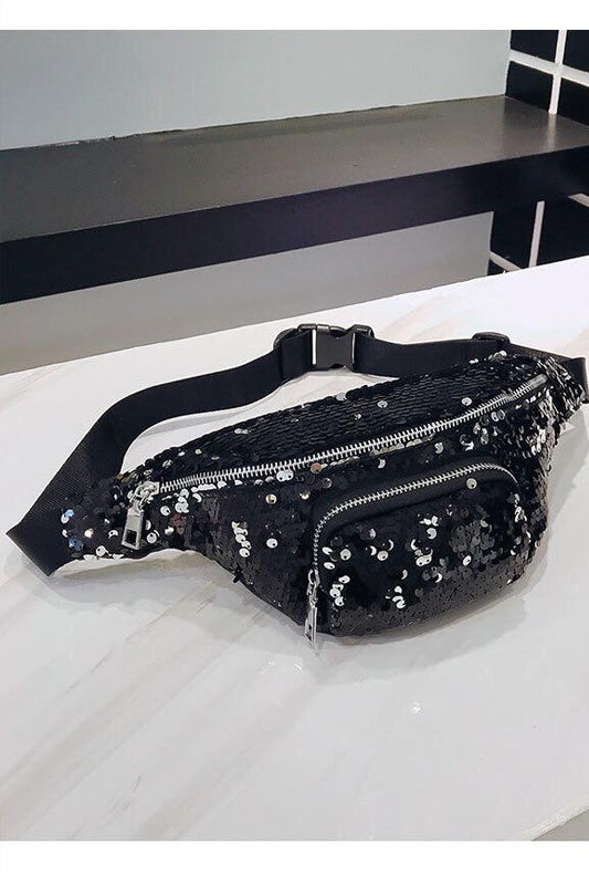 Sequined Waist Bag Black